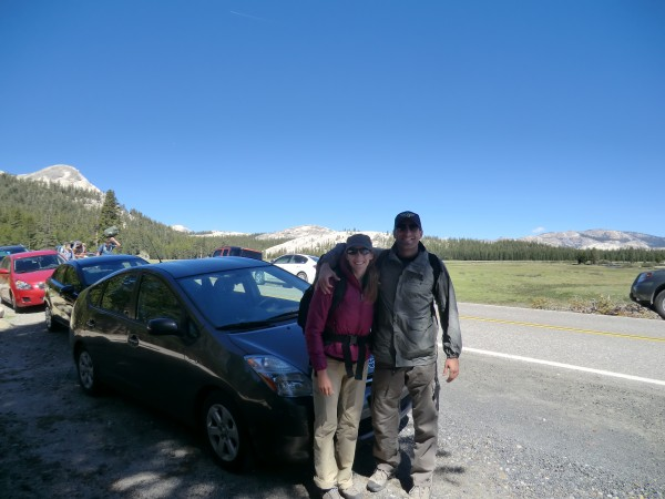 Hubby and I at the Cathedral Lakes trailhead.