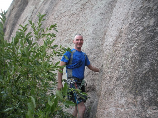 Climbing with SteveW. Getting ready to start up Bushes of Beelzebub. I...