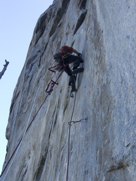 Leaning Tower West Face pitch 1 Climber Dave Coley