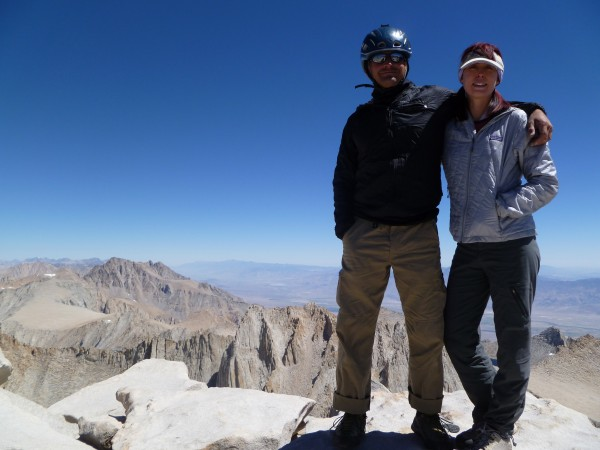 With Michael Ybarra on the summit after free soloing the East Face, 