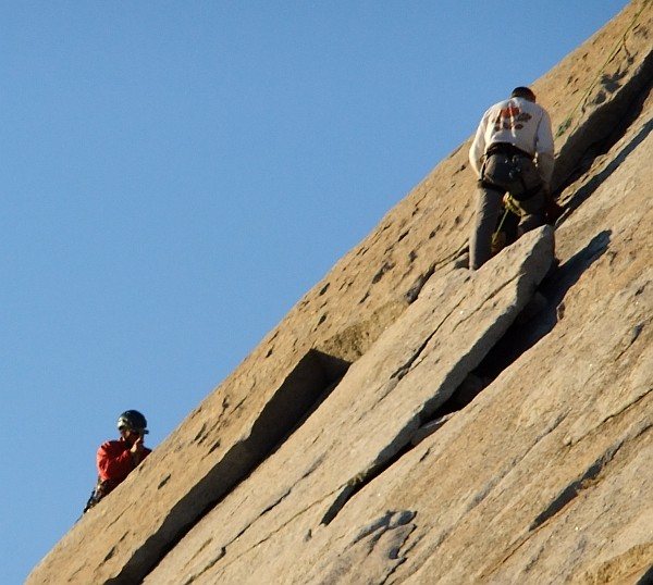 Bob replacing bolts on the West Face of Mt. Starr King (direct ver...