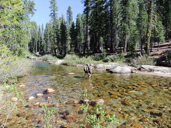 Illouette Creek - Roger on the ford option, 6/2012 (return leg of trip...