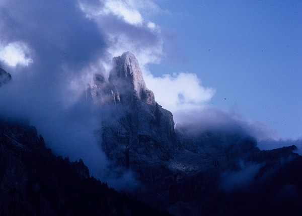Pala di San Martino: the Scarf Arete follows the line of light and sha...