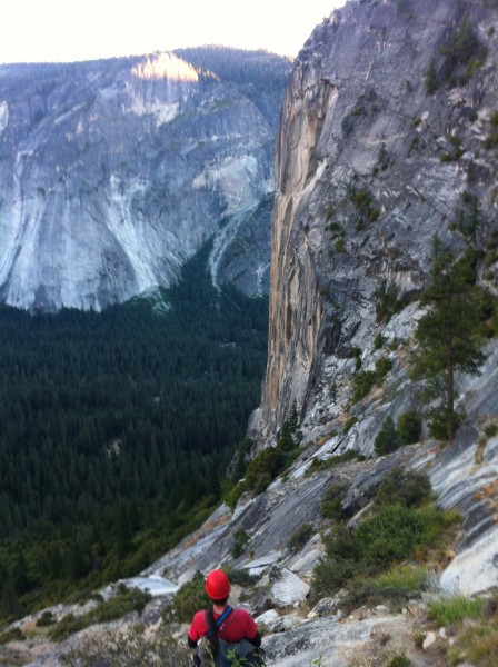 Descent down north dome gully, proudly watching the Column we just sen...