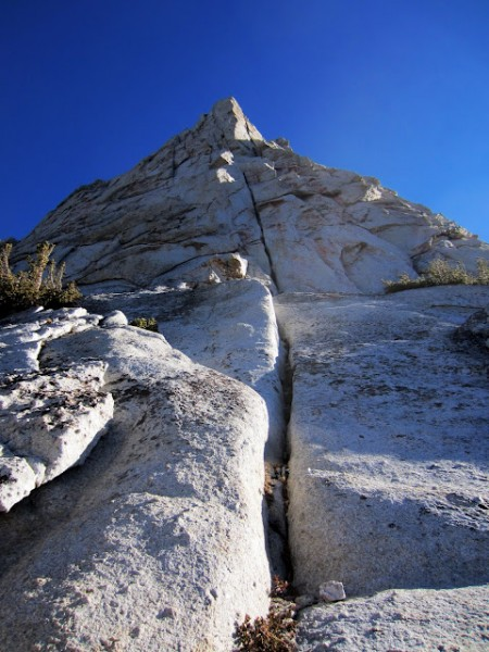 The obvious line up the West Pillar of Eichorn Pinnacle.