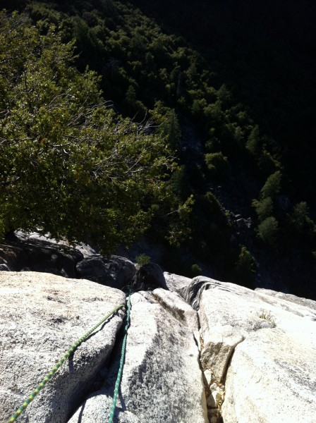 Looking down the 3rd pitch. South Face, Washington Column