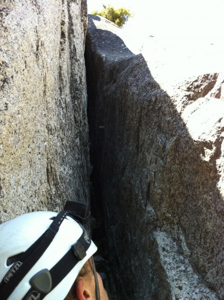 Looking up pitch 9. It start with a little easy chimney work and then ...