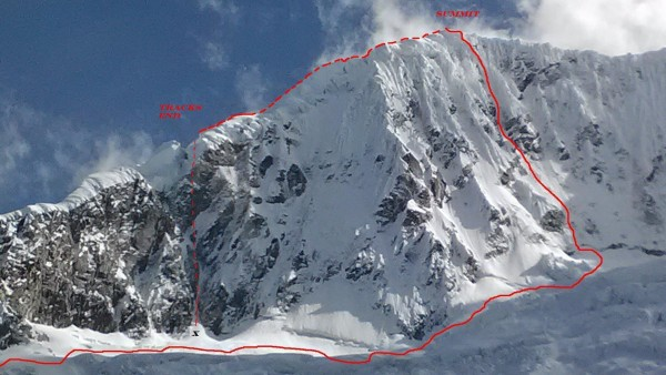 Approximate route of ascent ( via Asa Firestone), descent, and...