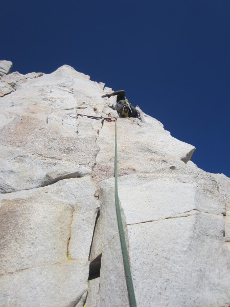 Max leading somewhere on East Buttress
