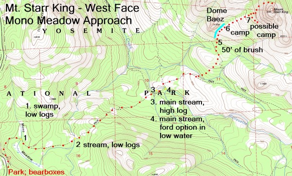 Mt. Starr King - West Face, Mono Meadow approach topo map