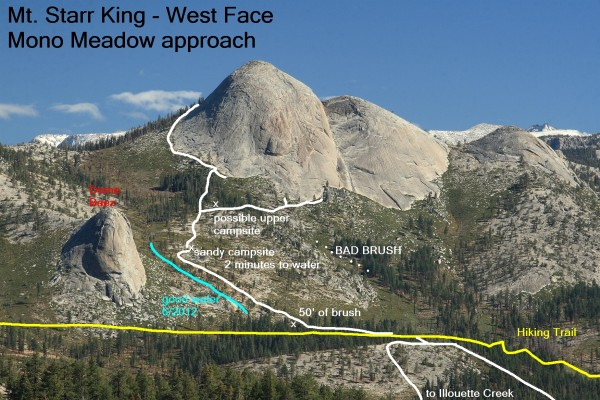 Mt. Starr King - West Face, Mono Meadow approach overlay