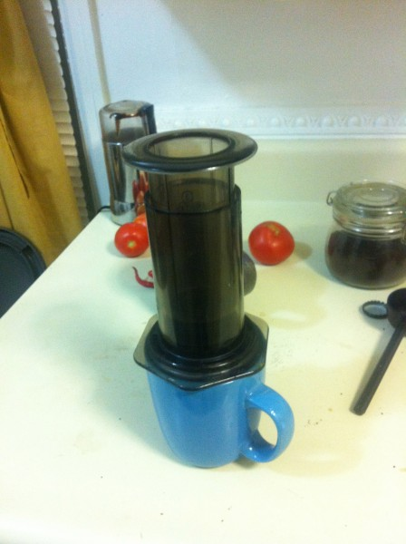 organic tomatos from the garden.  oh... I mean og coffee double shot!