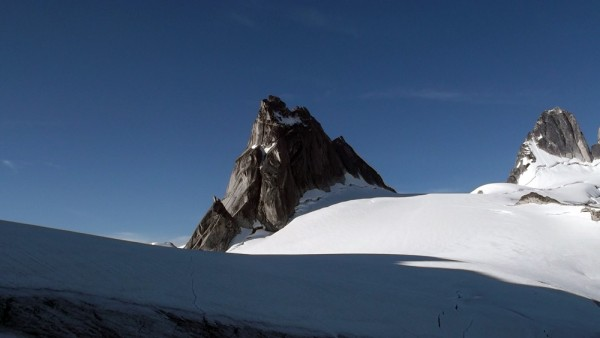 The view of Pigeon Spire from the top of Bugaboo-Snowpatch Col