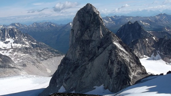 Looking over at Bugaboo Spire from high on the route.  We climbed just...