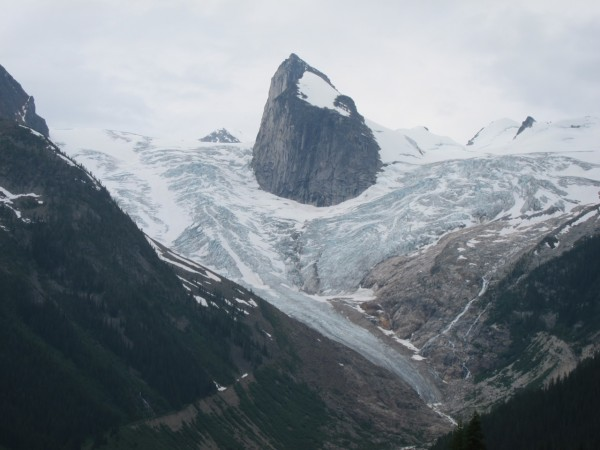 Our first glimpse of the Bugaboos, from the road in.