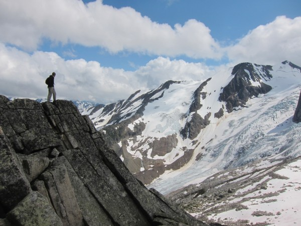 Brian having a look at the impressive Bugaboo glacier
