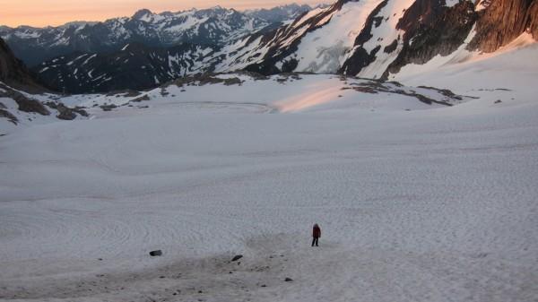 Sean hiking across the Crescent Glacier