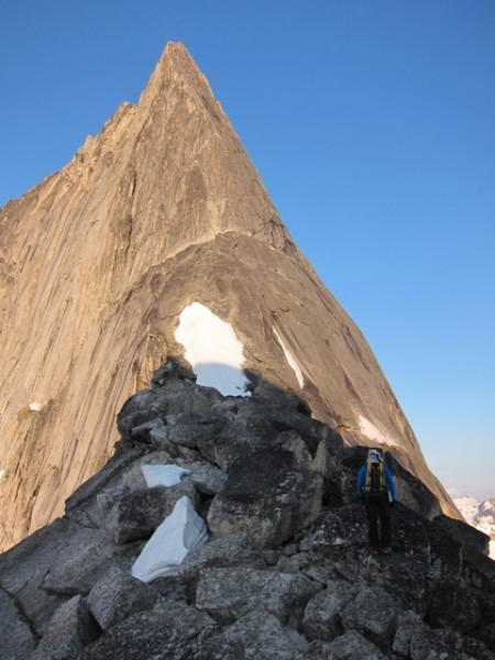 The NE Ridge of Bugaboo Spire. The rope up ledge is easily visible in ...