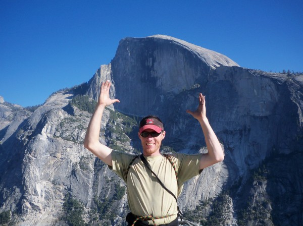 Myself tryin to hold halfdome