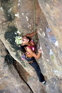 "My wife following ""Ant Killer,"" a fun crack route with rock solid enou..."