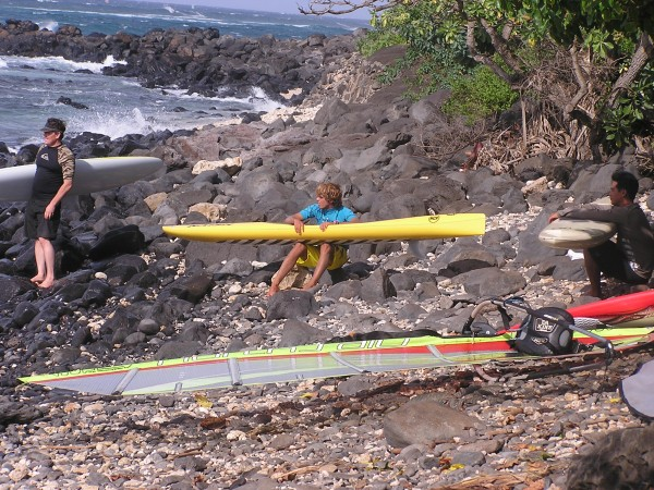 Kai Lenny at the Kuau launch site with his prone down wind paddle boar...