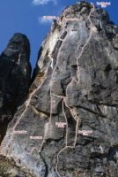 Liberty Bell - Freedom or Death III or V 5.12a - Washington Pass, Washington, USA. Click to Enlarge