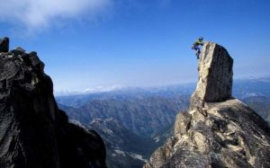 Colin Haley topping out the final micro summit of Chianti Spire