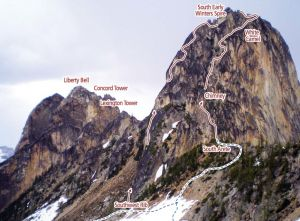 South Early Winters Spire - South Arete II 5.6  - Washington Pass, Washington, USA. Click to Enlarge