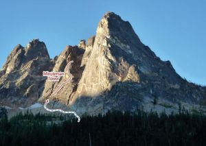 Minuteman Tower - East Face III 5.10b - Washington Pass, Washington, USA. Click to Enlarge