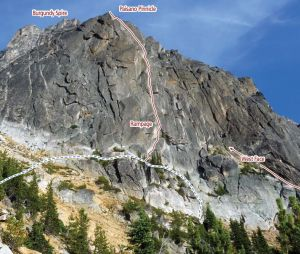 Paisano Pinnacle - Rampage III 5.10d - Washington Pass, Washington, USA. Click to Enlarge