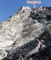 Burgundy Spire - North Face III 5.8+ - Washington Pass, Washington, USA. Click to Enlarge