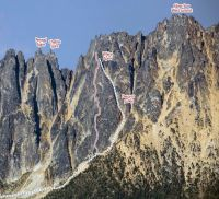 Whine Spire - Gato Negro IV+ 5.10d - Washington Pass, Washington, USA. Click to Enlarge