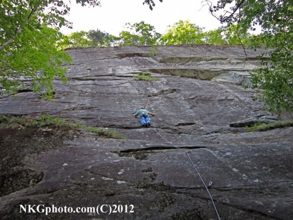 Ed on P1 of the 2nd ascent of Fire walk 10d