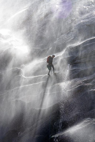 Wind blown waterfall