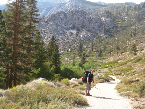 Zach approaching Temple Crag.