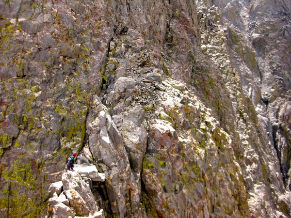 Zach on the 200' exposed ridge Traverse.