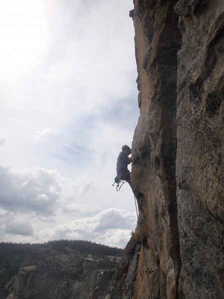 Free variation above Long Ledge, Salathe Wall