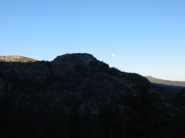 Moon setting, elevation gain beginning