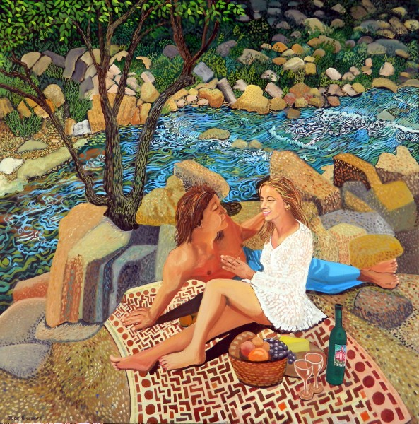 """Lovers Picnic""  Oil on Canvas 48""x48"""