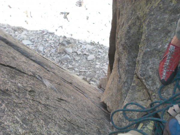 down from p1 belay