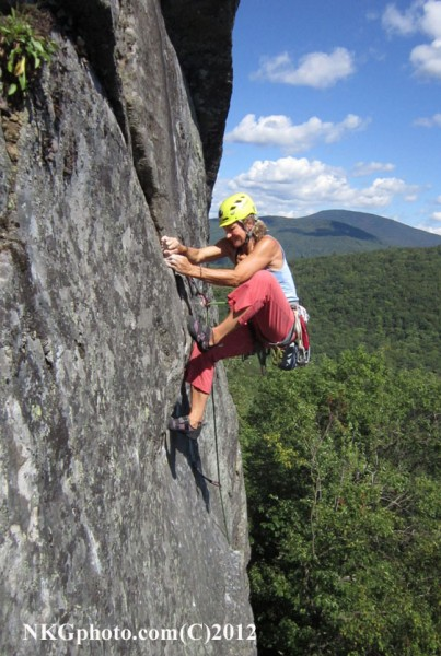 Isa on 2nd ascent of Mad Man 5.10c