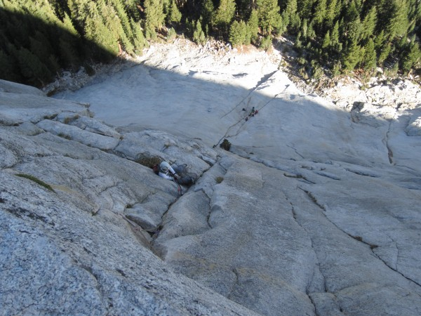 Looking down on the P2 belay.  A 70M rope was crucial, enabling us to ...