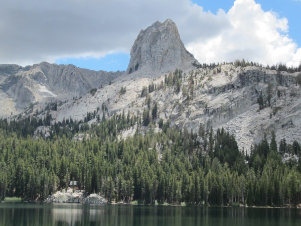 Crystal Crag (from the shore of Lake George).  The North Arete (~5.7is...