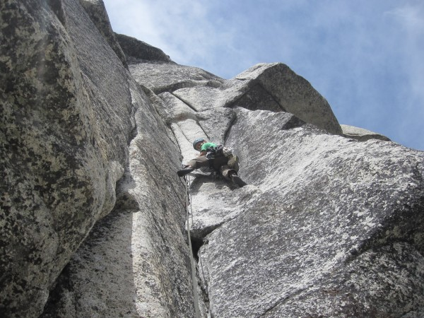 The first pitch of Hoodwink.  Awesome. overhanging yet still solid 5.8...