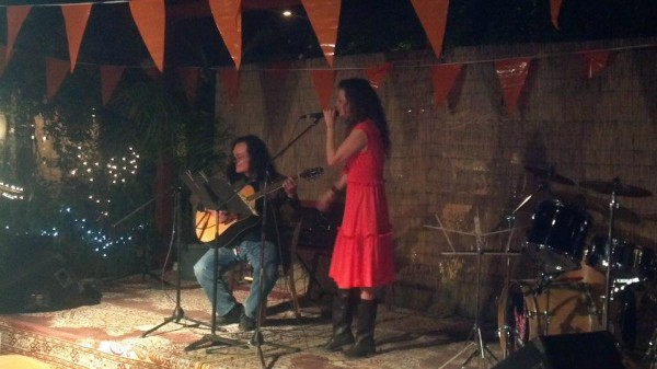 Lopez on guitar with Leggs on vocals  <br/>  <br/> MS Benefit at La Cocina