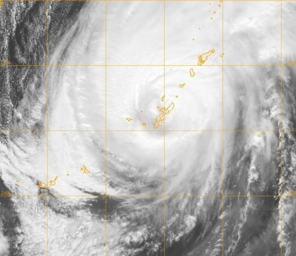 Typhoon hitting Okinawa and Japan