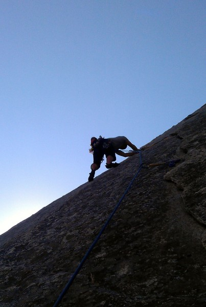 Jon leads up The Fracture past the crux.