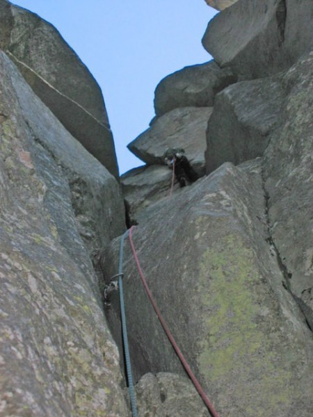 last pitch Zander's photo from 2009. Chad finishing the route at sunse...