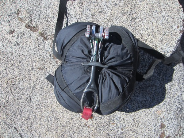 Compressed bag & bivy sack - end view.