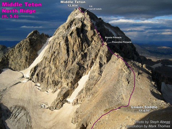 North Ridge of Middle Teton seen from the start of the Lower Exum Ridg...